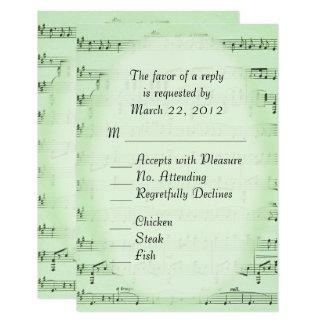 Music Wedding Green RSVP with Menu Card