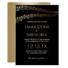Music Wedding Party Elegant Black & Gold Card