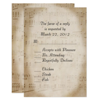 Music Wedding RSVP with Menu 9 Cm X 13 Cm Invitation Card