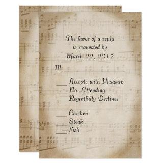 Music Wedding RSVP with Menu 9 Cm X 13 Cm Invitation Card