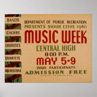 Music Week WPA Vintage Poster