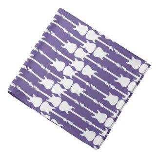 Music White Electric Guitar Stripes, Ultra Violet Bandana