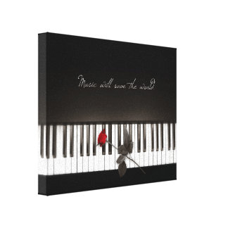 Music Will Save The World - Rose Piano canvas Stretched Canvas Prints