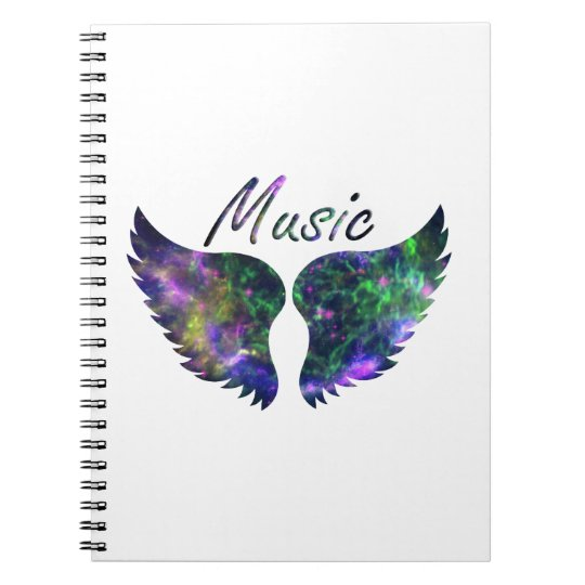 Music wings nova 1 purple green spiral notebook