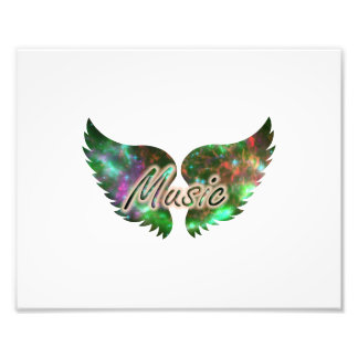 Music wings overlay 1 purple green photographic print