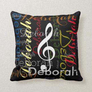 music with patterned name stylish decor cushion
