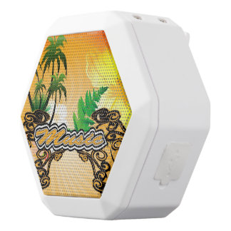 Music,  word with palm, flowers white boombot rex bluetooth speaker