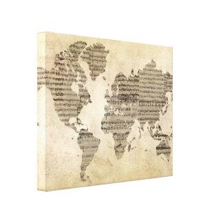 Music World Map Canvas Print