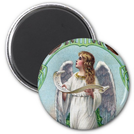 Musical Angel and Bells Vintage Xmas 6 Cm Round Magnet