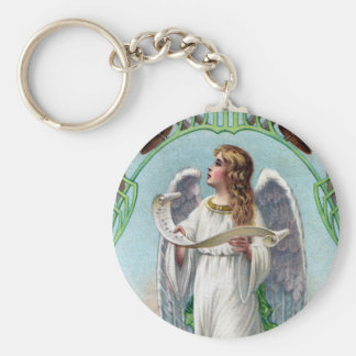 Musical Angel and Bells Vintage Xmas Basic Round Button Key Ring