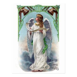 Musical Angel and Bells Vintage Xmas Postcard