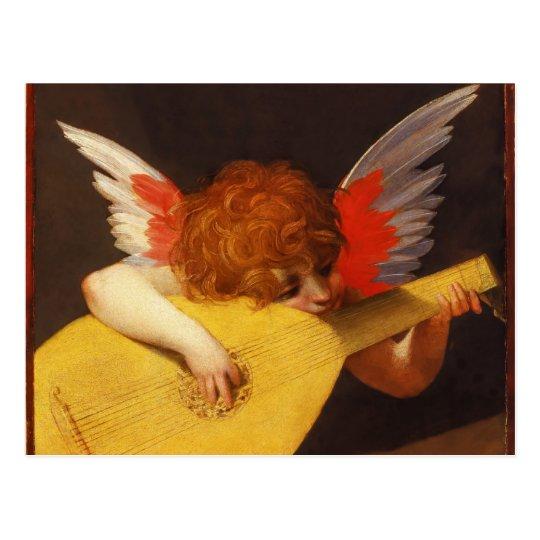 Musical Angel Vintage Christmas Postcard