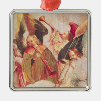 Musical Angels Silver-Colored Square Decoration