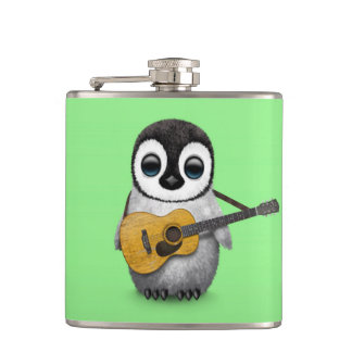 Musical Baby Penguin Playing Guitar Green Hip Flask