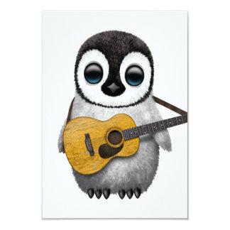 Musical Baby Penguin Playing Guitar Custom Invitation