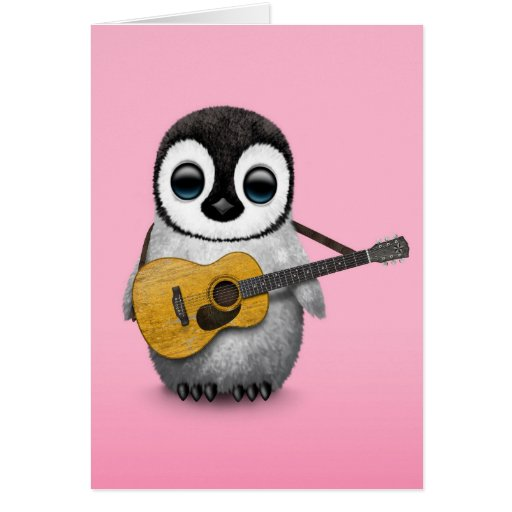 Musical Baby Penguin Playing Guitar Pink Greeting Cards