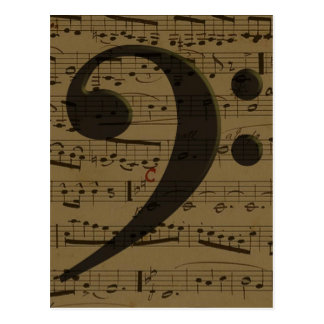 Musical Bass Clef sheet music Postcard