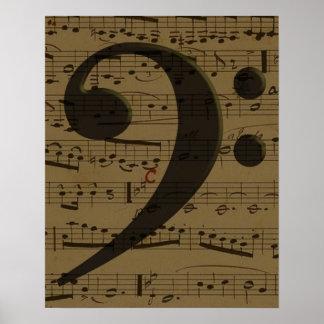 Musical Bass Clef sheet music Poster