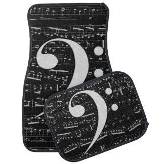 Musical Bass Clef sheet music Floor Mat