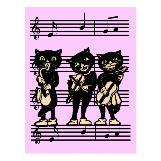 Musical Black Cats Postcard