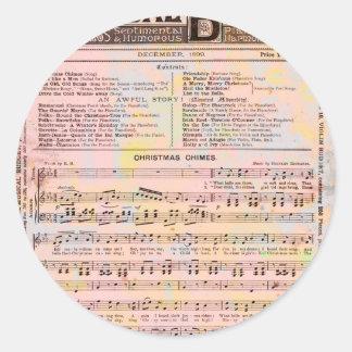 Musical Budget Christmas Round Sticker