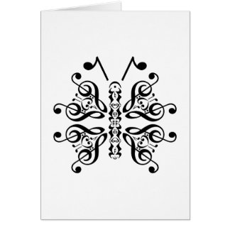 Musical Butterfly Music Note Scroll Design Card