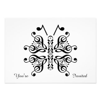 Musical Butterfly Music Note Scroll Design Custom Invitations