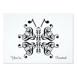Musical Butterfly Music Note Scroll Design 5x7 Paper Invitation Card