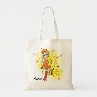 Musical Cartoon Rock Chick | DIY Text Budget Tote Bag