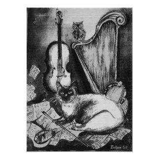 MUSICAL CAT AND OWL  ,Black and White Poster