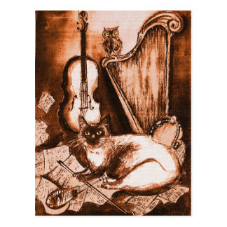 MUSICAL CAT AND OWL ,Brown and White Postcard
