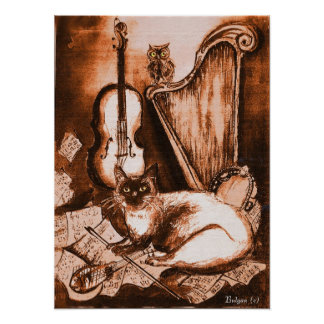 MUSICAL CAT AND OWL  ,Brown and White Poster