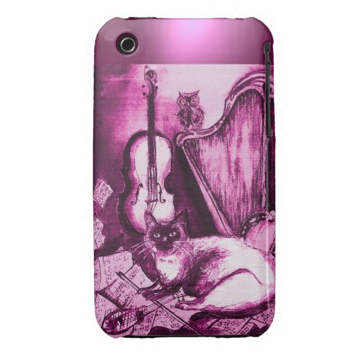 MUSICAL CAT WITH OWL IN PINK PURPLE GEM iPhone 3 COVERS