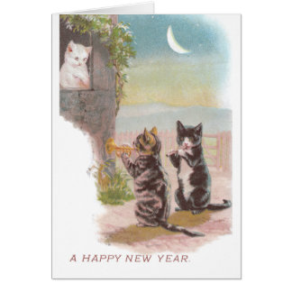 Musical Cats Play for Kitty Vintage New Year Card