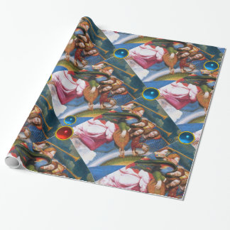 MUSICAL CHRISTMAS ANGELS WITH RED BLUE GEMSTONES WRAPPING PAPER