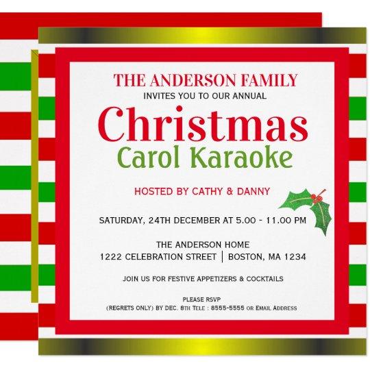 Musical Christmas Carol Karaoke Party Invitation