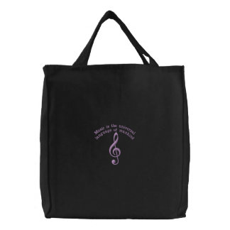 Musical Clef with Longfellow Quote Tote Bag