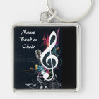 Musical Cleft Note Abstract Key Ring
