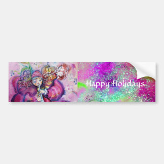 MUSICAL CLOWN IN PINK PURPLE BLUE SPARKLES BUMPER STICKER