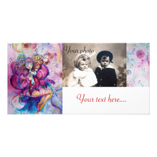 MUSICAL CLOWN pink white blue Personalized Photo Card