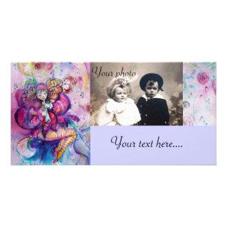 MUSICAL CLOWN pink white blue Photo Cards