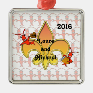 Musical Crawfish Fleur de Lis Ornament
