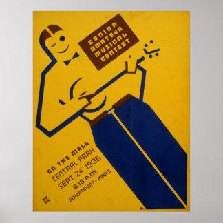 Musical Del Central Park WPA Vintage 1936 Poster