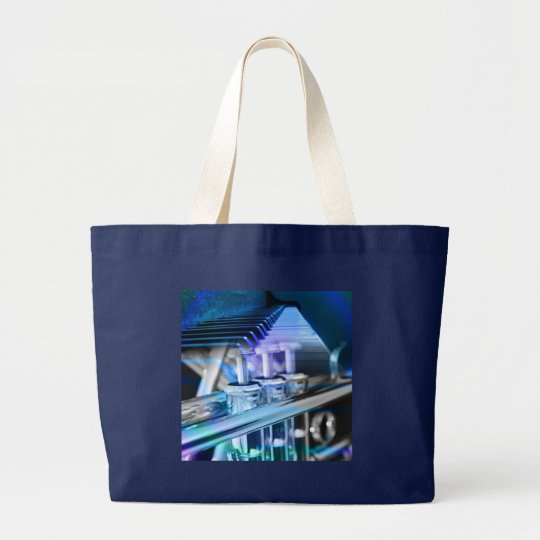 Musical Duet Blue Large Tote Bag