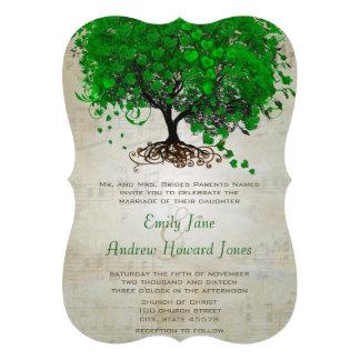 Musical Emerald Heart Leaf Tree Wedding Invites