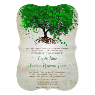 "Musical Emerald Heart Leaf Tree Wedding Invites 5"" X 7"" Invitation Card"