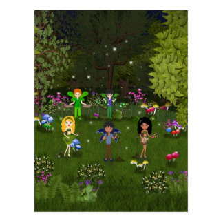 Musical Faerie Band in Enchanting Forest Postcard