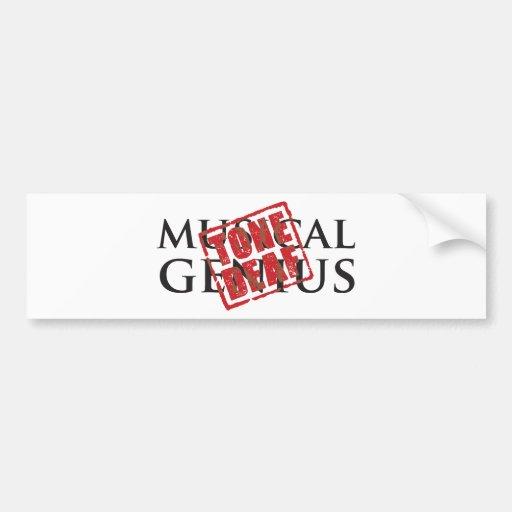 Musical genius: tone deaf rubber stamp bumper stickers