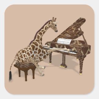 Musical Giraffe Plays Grand Piano Square Sticker