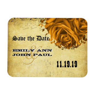 Musical Gold Heart Roses Save the Date Rectangular Photo Magnet